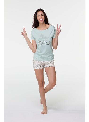 Clap Clap Kadın Penye Kısa Kollu Şortlu Pijama Takımı-Hays